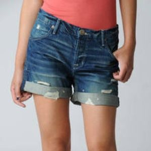 Hudson LEAH Boyfriend Cuffed Distressed Shorts 26